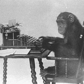 Author monkey typing a book